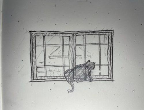 木製窓のある風景